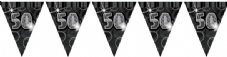 Black Glitz '50th' Birthday Flag Banner